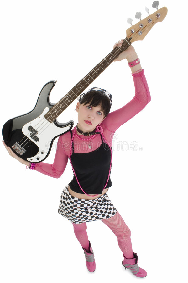 Bass Babe In Pink And Black stock photo