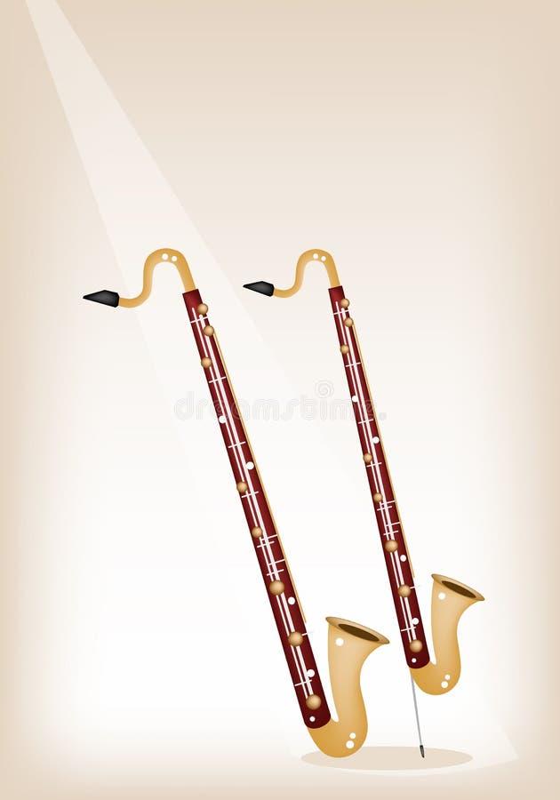 Bass Clarinet musicale sul fondo di fase di Brown royalty illustrazione gratis