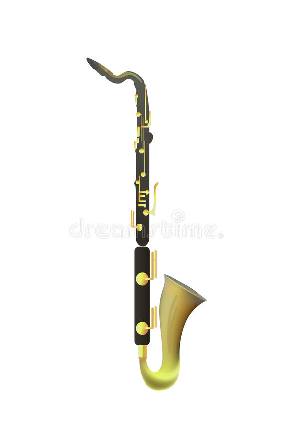Bass Clarinet su fondo bianco royalty illustrazione gratis