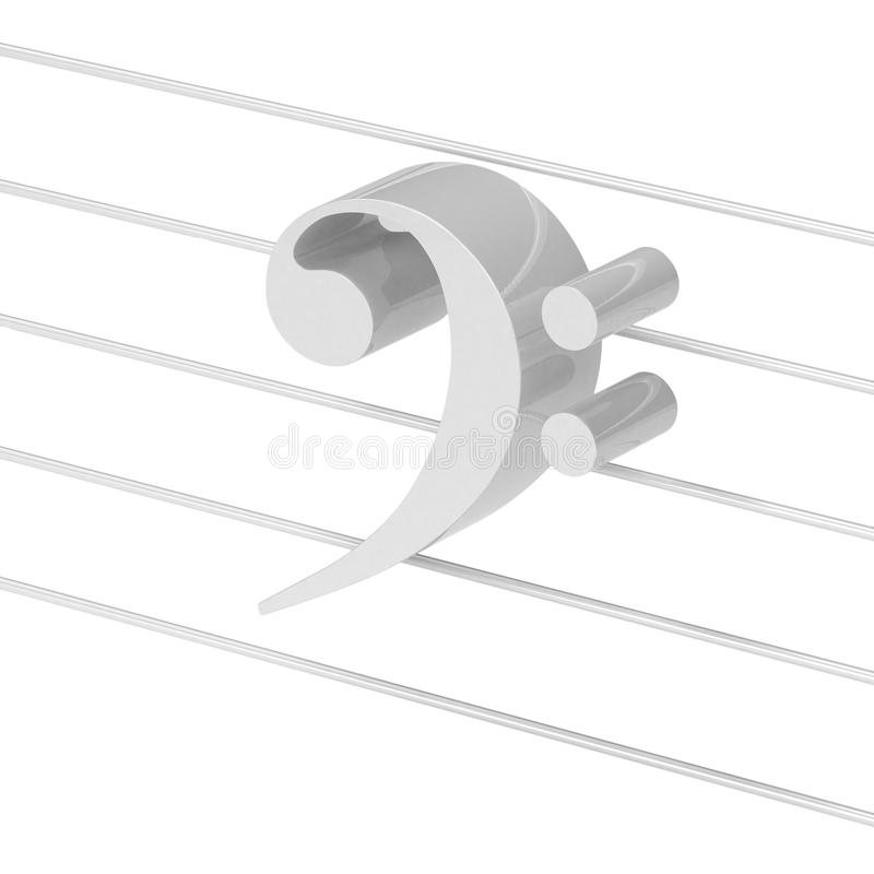 Bass clef. 3d visualization of white bass clef over white background stock illustration