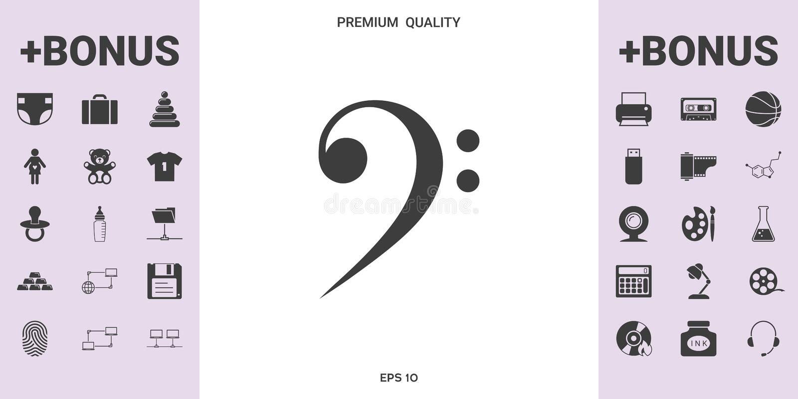 Bass clef icon. Element for your design royalty free illustration