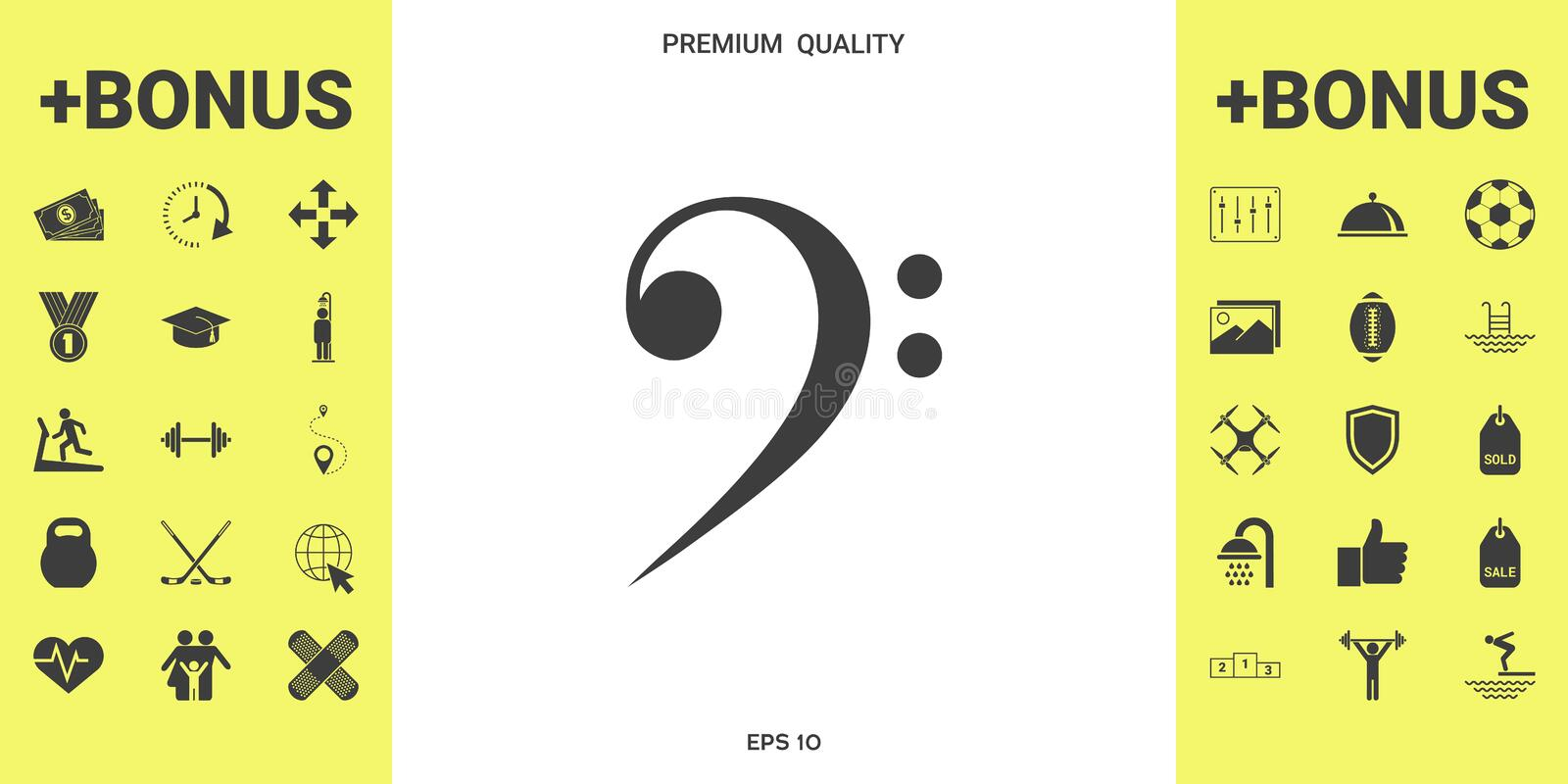 Bass clef icon. Element for your design . Signs and symbols - graphic elements for your design stock illustration
