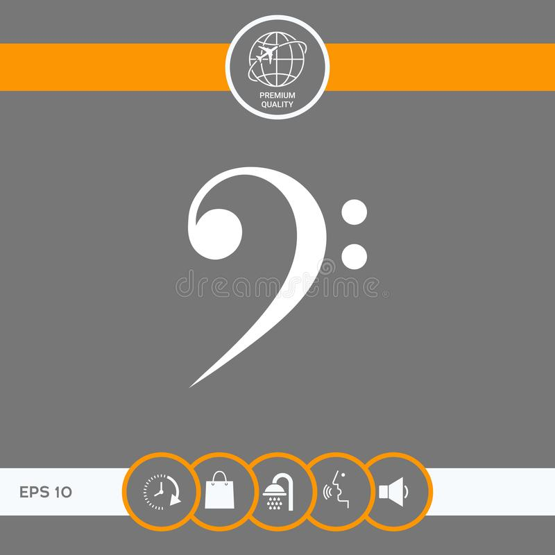 Bass clef icon. Element for your design . Signs and symbols - graphic elements for your design vector illustration