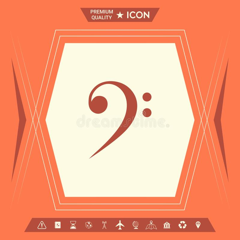 Bass clef icon. Element for your design . Signs and symbols - graphic elements for your design royalty free illustration