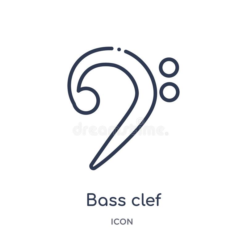 Bass clef icon from music and media outline collection. Thin line bass clef icon isolated on white background stock illustration