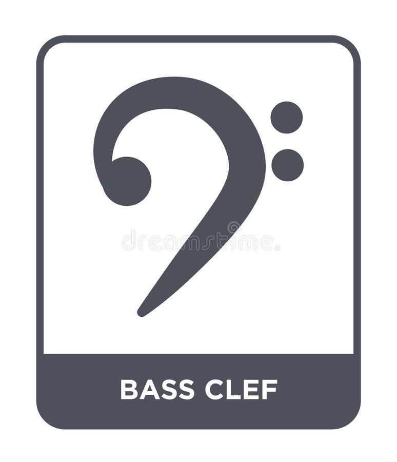 Bass clef icon in trendy design style. bass clef icon isolated on white background. bass clef vector icon simple and modern flat. Symbol for web site, mobile vector illustration