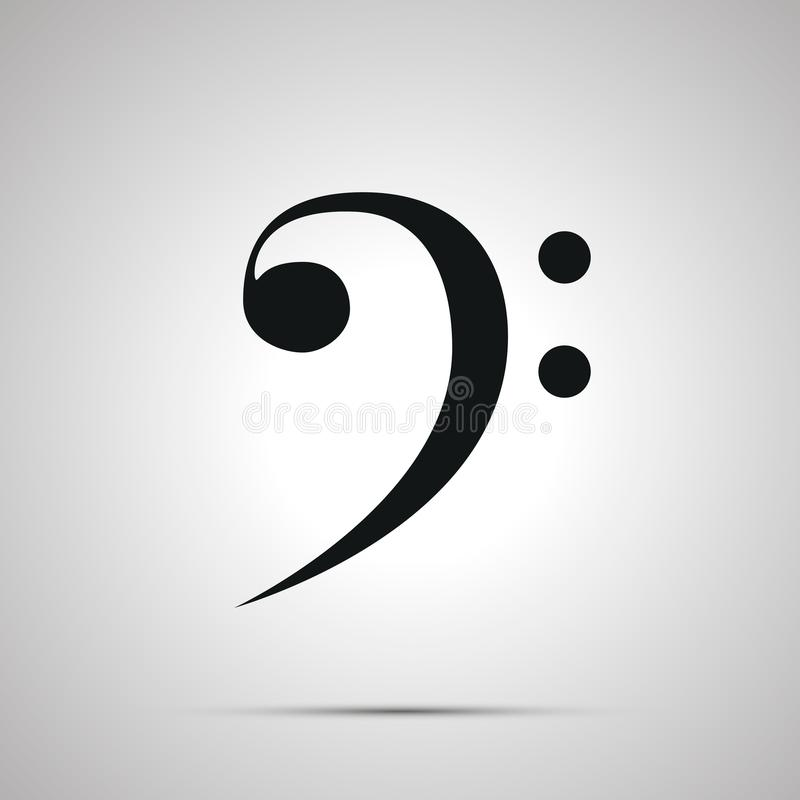 Bass clef silhouette, simple black icon. With shadow royalty free illustration