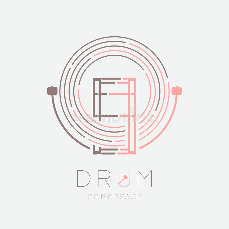Bass drum, drumstick with line staff circle shape logo icon outline stroke set dash line design illustration isolated on grey. Background with drum text and stock illustration
