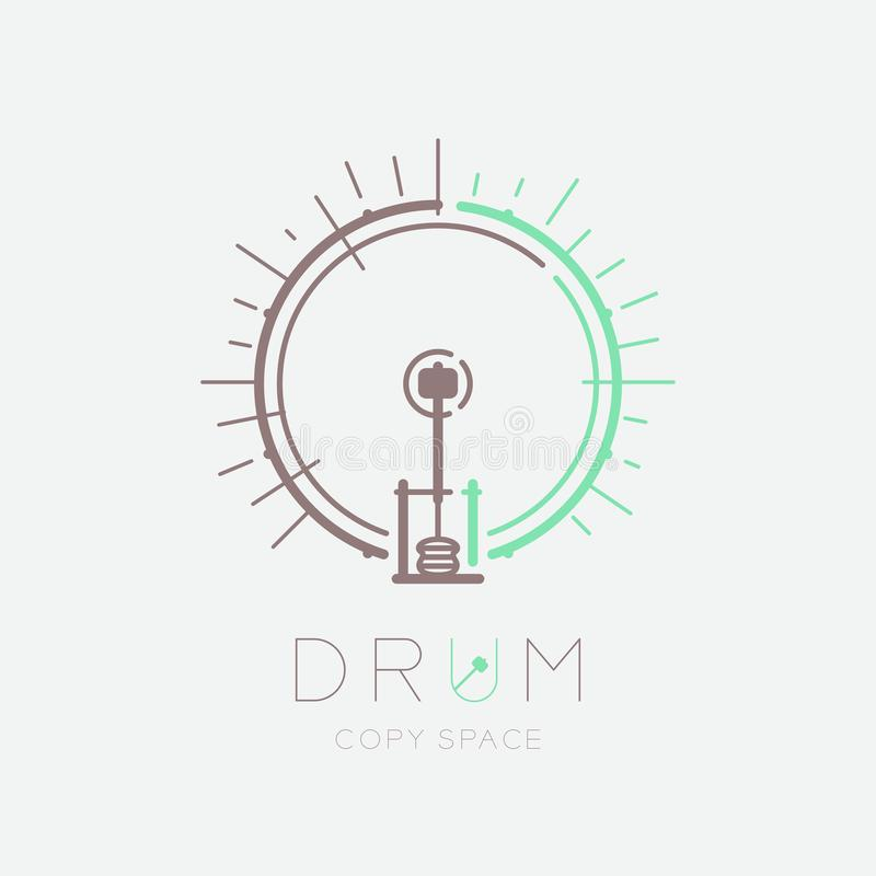 Bass drum, pedal with line staff circle shape logo icon outline stroke set dash line design illustration isolated on grey. Background with drum text and copy stock illustration