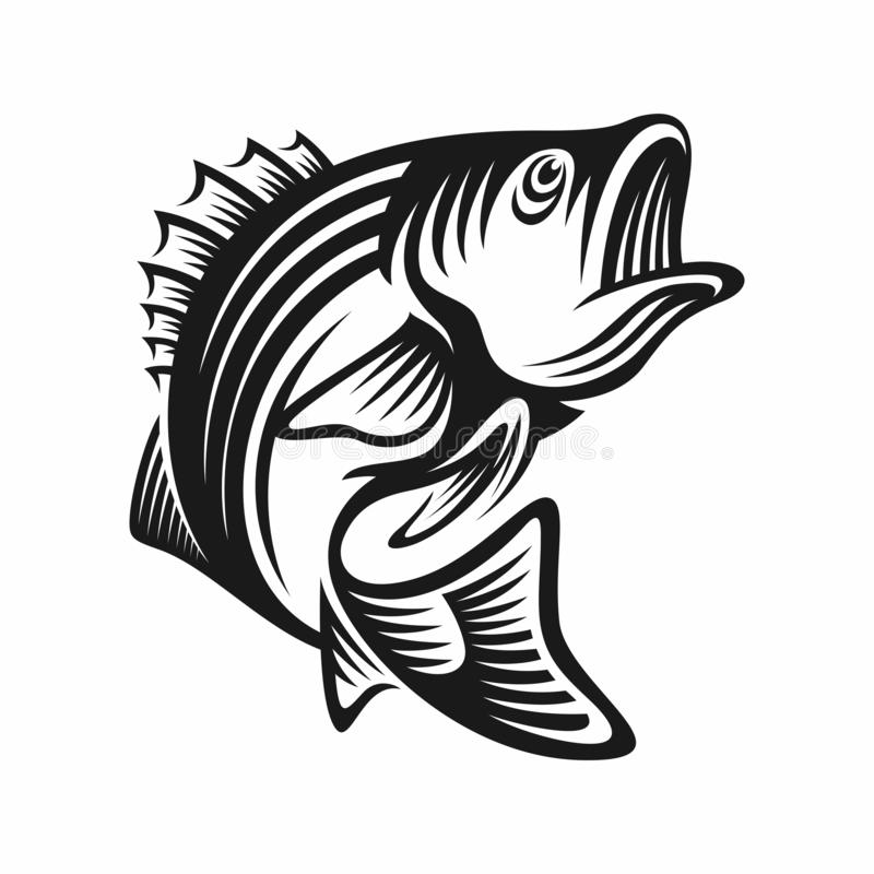 Bass fish icons isolated on white background. Design element for logo, label, emblem, sign, brand mark. Vector illustration. stock illustration