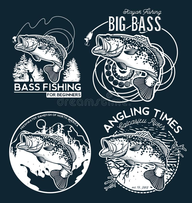 Bass Fishing emblem on black background. Vector illustration. stock illustration