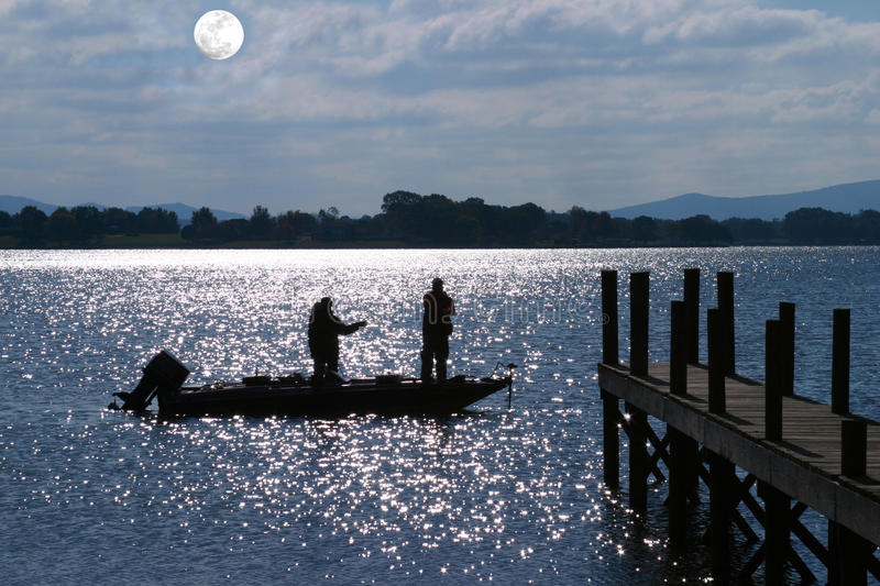 Bass Fishing by Moonlight royalty free stock photos