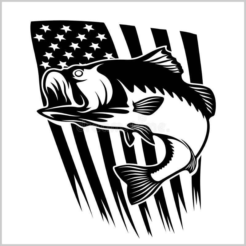 Bass fishing on usa flag vector illustration. On white vector illustration