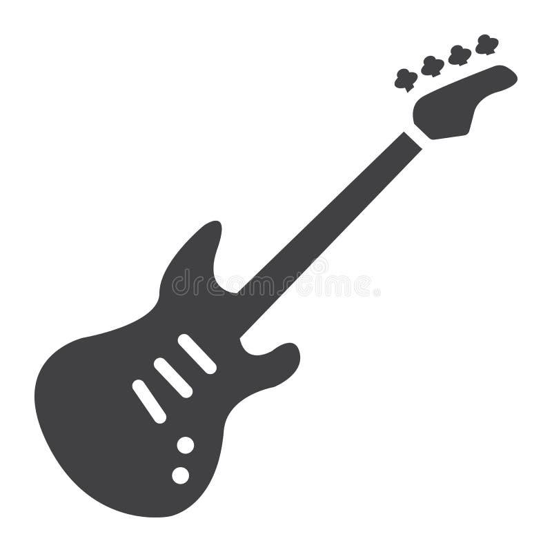 Bass-Gitarre Glyphikone, -musik und -instrument vektor abbildung