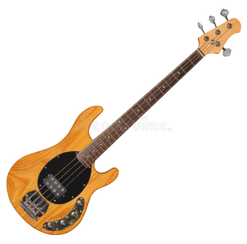 Bass Guitar. Electric Bass Guitar isolated on white background stock photo