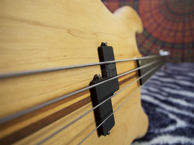 Bass guitar, electric guiar, electric stringed instrument stock image