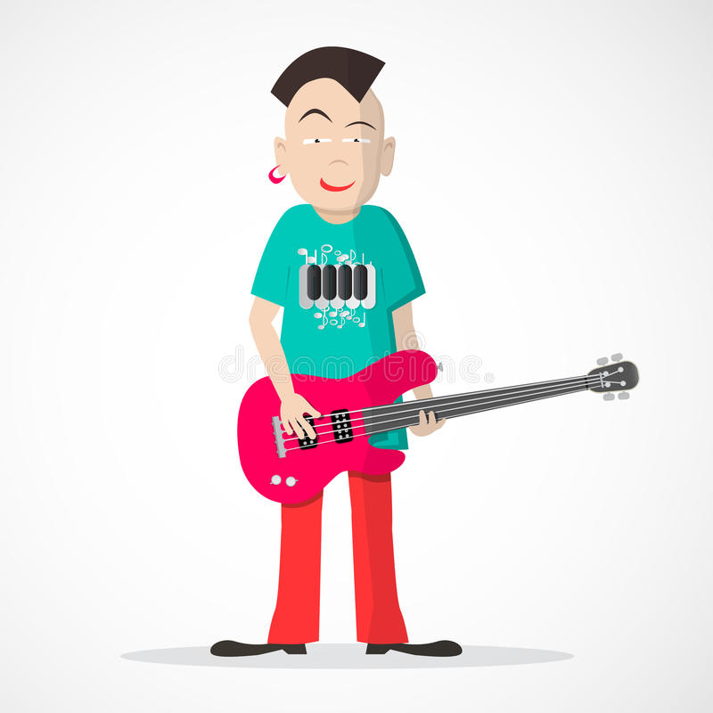 Bass Guitar Player - Punkstijlvector vector illustratie