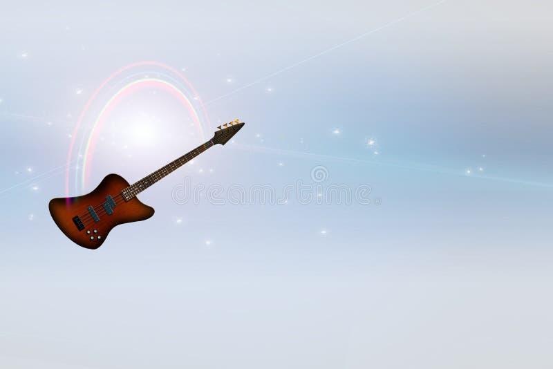 Bass Guitar and Rainbow Serene Light vector illustration