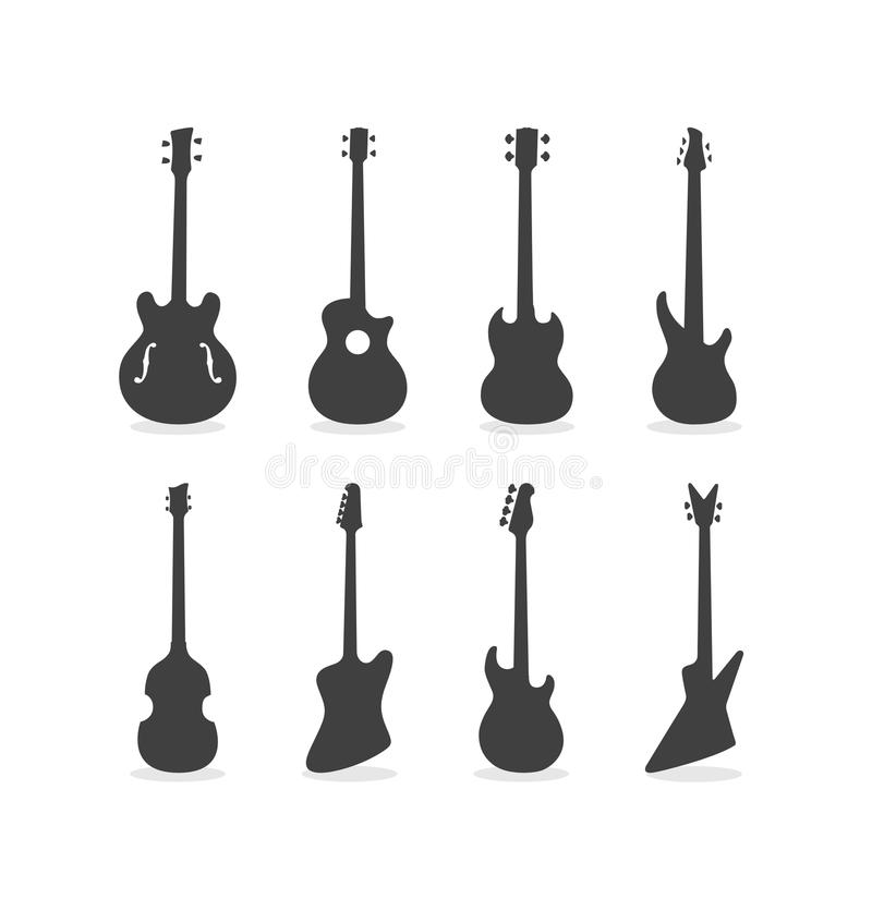 Bass Guitar Silhouette Set stock fotografie
