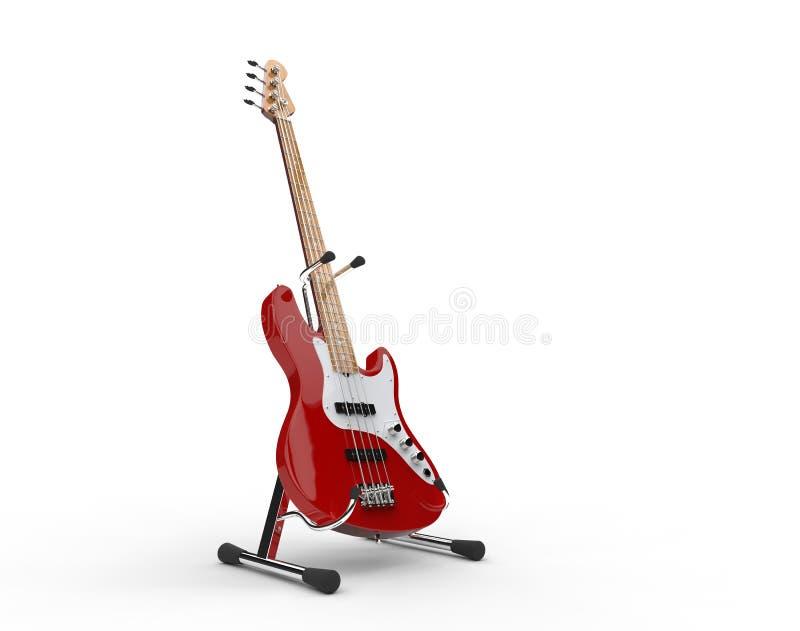 Bass Guitar On The Stand vermelho ilustração do vetor