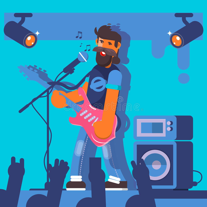 Bass Guitarist plays on the electric guitar. Rock Band Member Funny Character.Vector illustration royalty free illustration