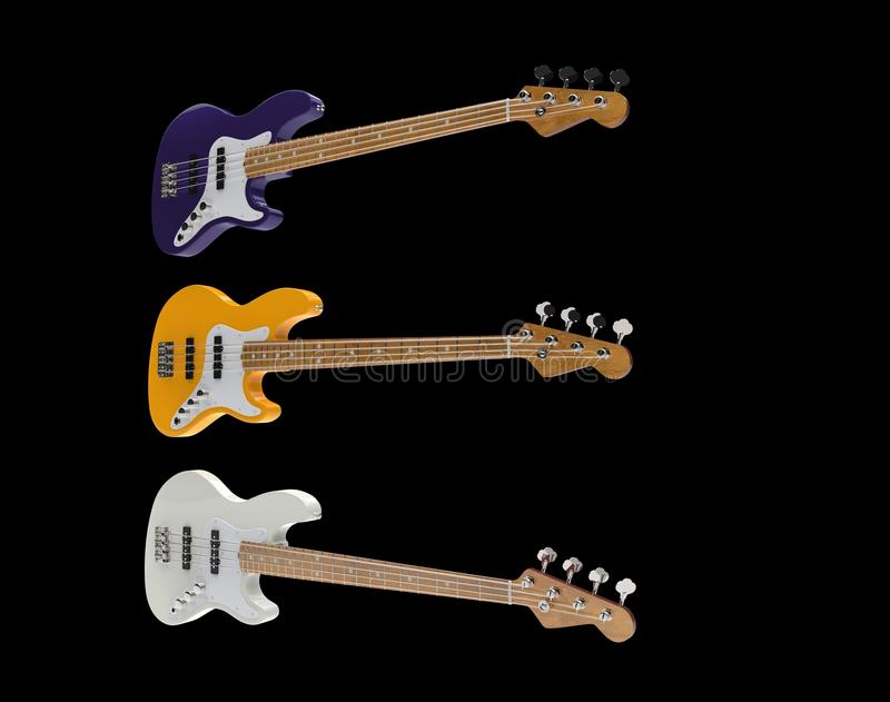 Bass Guitars Set elettrico 02 royalty illustrazione gratis