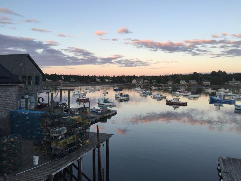 Bass Harbor al crepuscolo fotografia stock libera da diritti