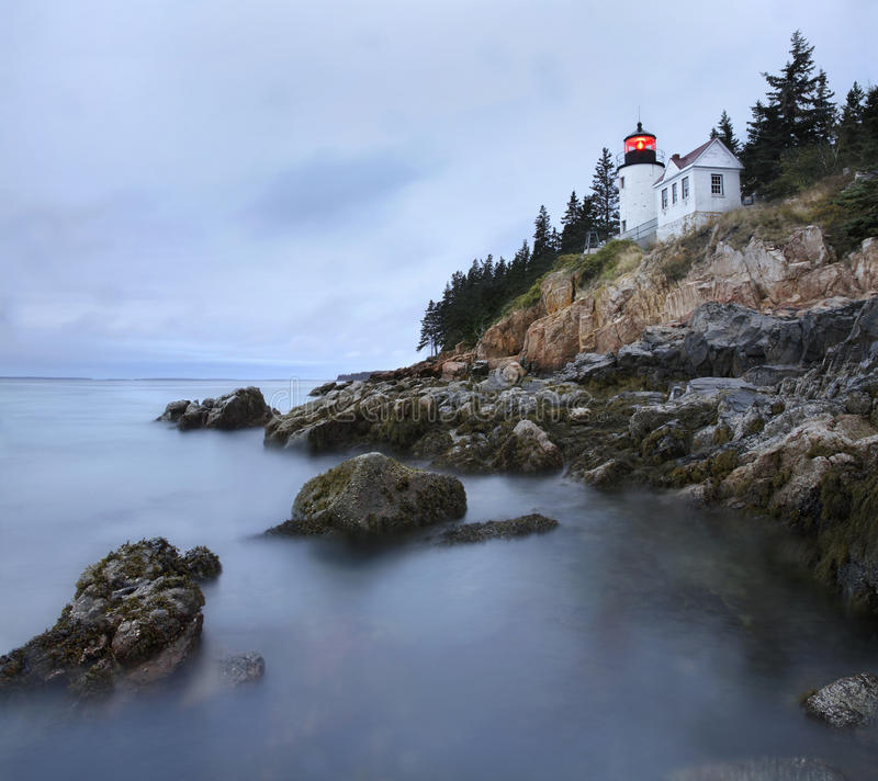 Bass Harbor Head Light. In Pre-Dawn Light On A Rainy Morning, Acadia National Park, Maine stock image