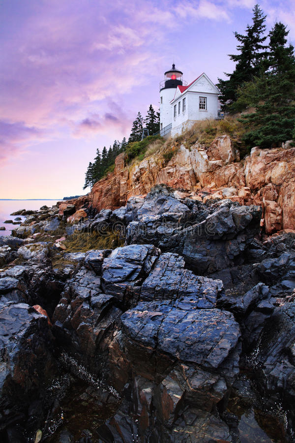 Bass Harbor Head Light. Sundown After A Storm At The Bass Harbor Head Light, Acadia National Park, Maine, USA royalty free stock image