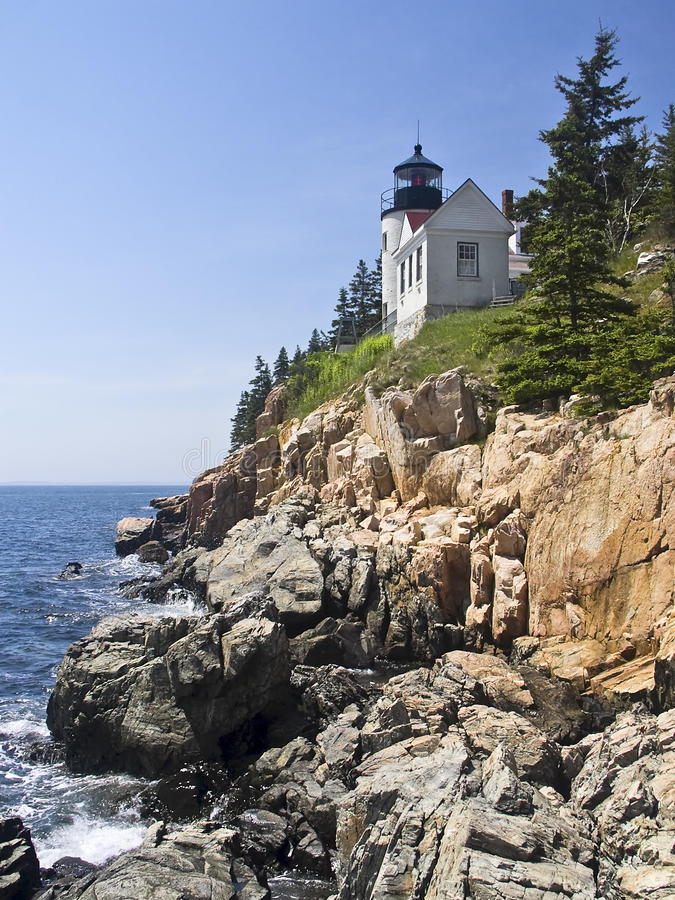 Bass Harbor Head Light, Acadia National Park. Bass Harbor Head Light, a lighthouse marking the granite shores of Maine in Acadia National Park royalty free stock photo