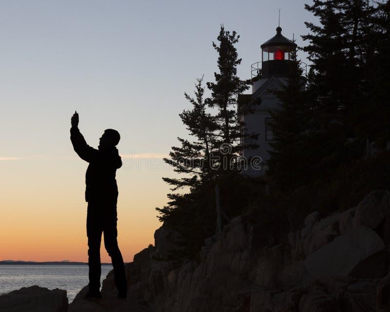 Bass Harbor Head Light House, acadia, parco nazionale fotografie stock libere da diritti