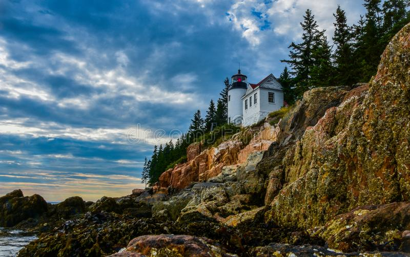 Bass Harbor Head. Lighthouse located in Acadia National Park in the southwest portion of Mount Desert Island, ME stock image