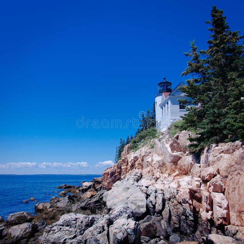 The Bass Harbor Head Lighthouse, Maine royalty free stock images