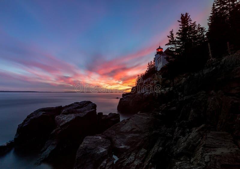 Bass Harbor Light i Acadia royaltyfri fotografi