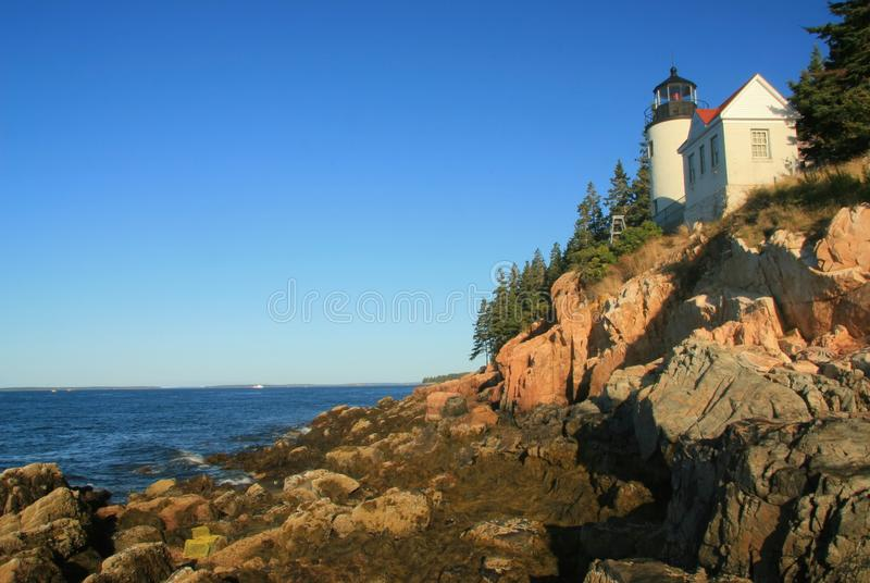 Bass Harbor Lighthouse at Low Tide stock image