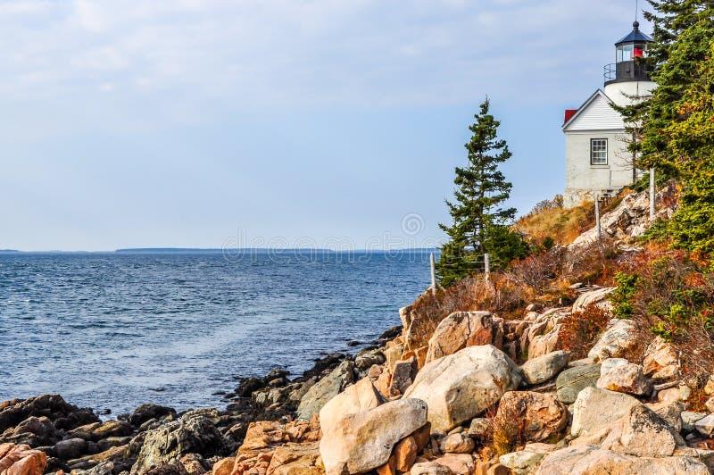 Bass Harbor Lighthouse no parque nacional do Arcadia imagens de stock royalty free