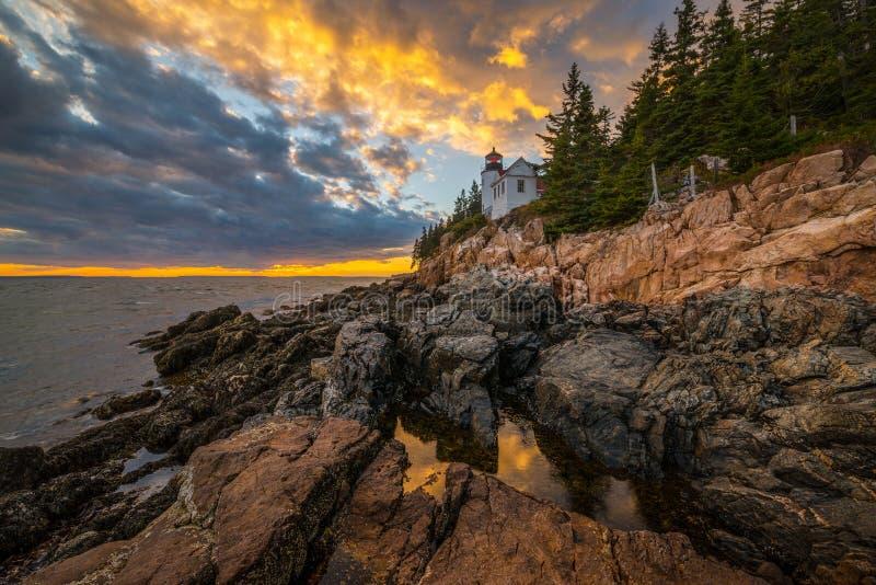 Bass Harbor Lighthouse sunset royalty free stock image