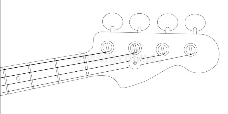 Bass Headstock Outline stock de ilustración