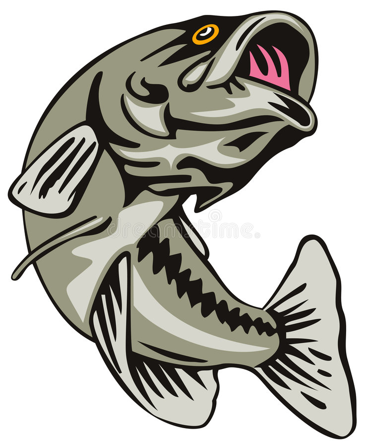 bass jumping stock vector illustration of green black 4858514 rh dreamstime com jumping bass fish clip art Largemouth Bass Cartoon