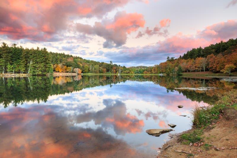 Bass Lake Blowing Rock North Carolina Sunset stock photo