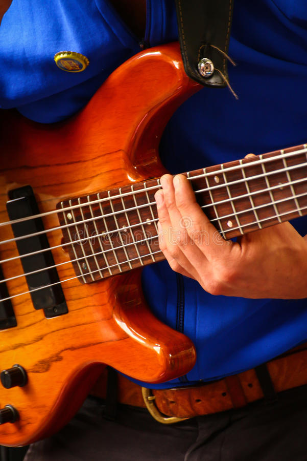 Bass Player at music festival royalty free stock photo