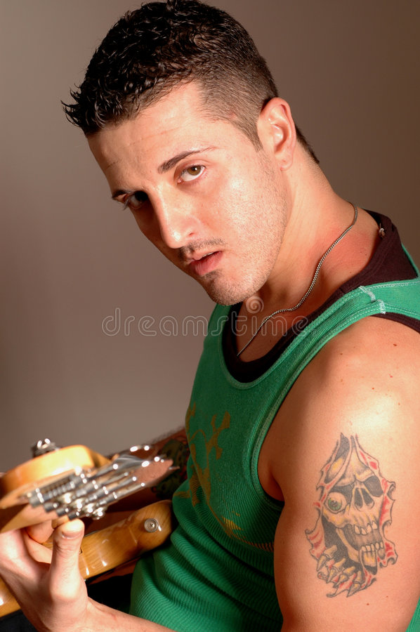 Bass player with tattoo 2513