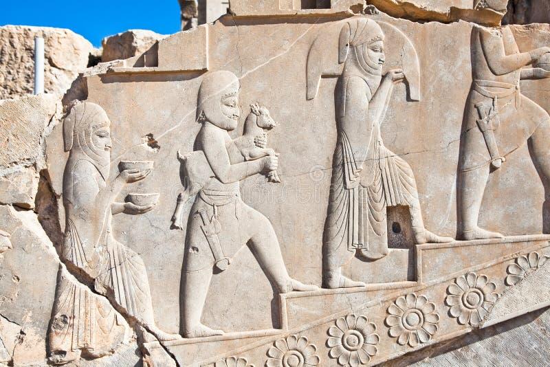 Bass relief ,f Persepolis, Iran royalty free stock photo