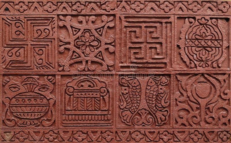 Bass relief in Jain Temple, Kolkata stock image