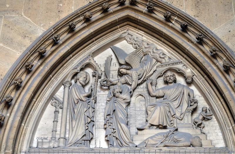 Bass relief on the portal of the Basilica of Saint Clotilde in Paris stock photos