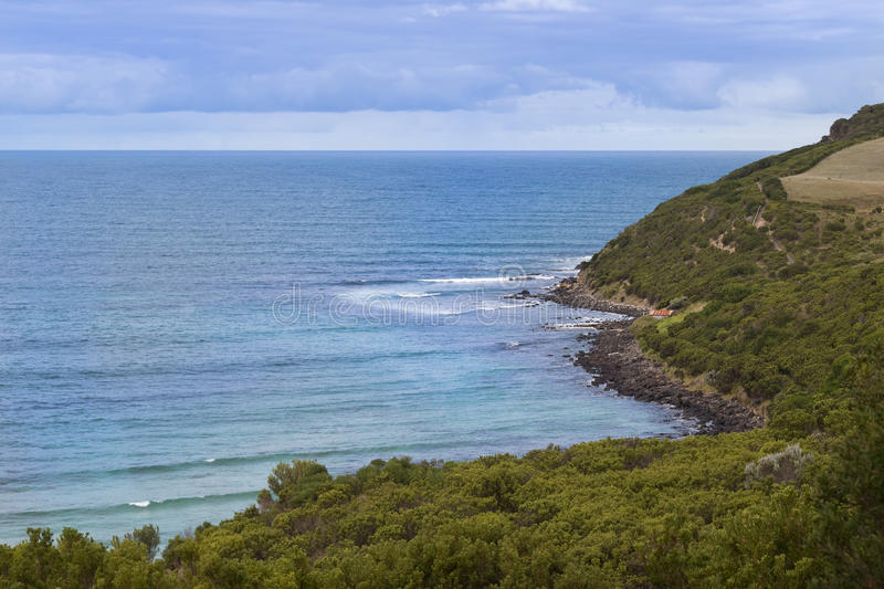 Bass Strait sea and mountain at Cape Nelson Conservation reserve. Landscape view of the Bass Strait sea and mountain at Cape Nelson Conservation reserve at Cape royalty free stock image