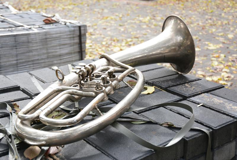 A bass tuba in F. The tuba is the largest and lowest-pitched musical instrument in the brass family royalty free stock photo