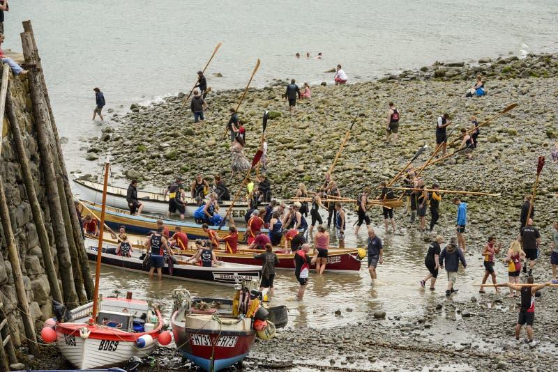 Bassa marea al porto, Clovelly, Devon immagini stock libere da diritti