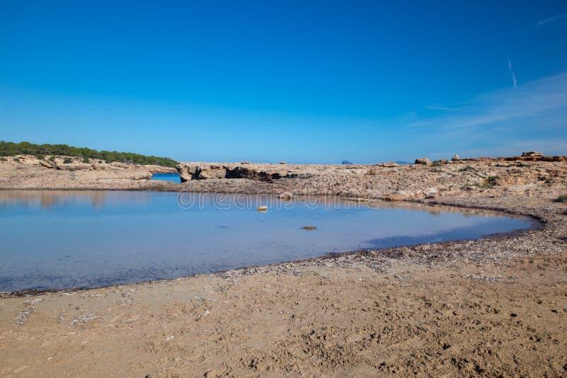 Bassa strand på ön av Ibiza, Balearic Island royaltyfria bilder