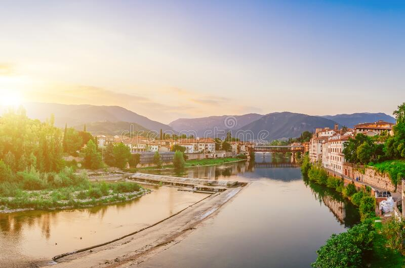 Bassano del Grappa Ponte Vecchio in Veneto Region Northern Italy.  royalty free stock image